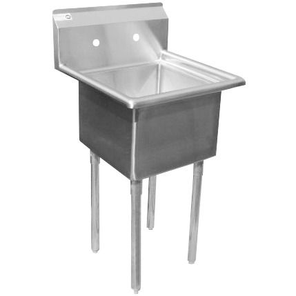 Regency 22 16 Gauge Stainless Steel One Compartment Commercial Sink With Galvanized Steel Legs And Without Drainboard 17 X 17 X 12 Bowl Commercial Sink Sink Commercial Kitchen