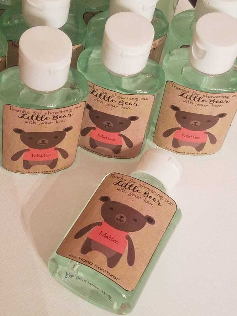 Little Teddy Bear Adoption Baby Shower Hand Sanitizer Labels Party