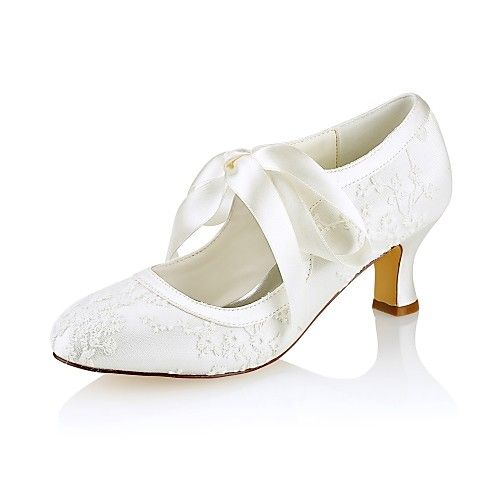 3cf58ad74 Women's Shoes Stretch Satin Spring / Fall Basic Pump Wedding Shoes Chunky  Heel Round Toe Ribbon Tie Ivory / Party & Evening 2019 - Can $68.79