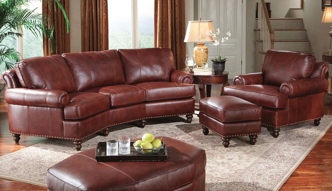 Smith Brothers Of Berne Three Cushion Conversation Sofa Brown Leather