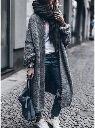 Photo of VERYVOGA dark gray plain chunky knitted polyester cardigan sweater. #VERYV …