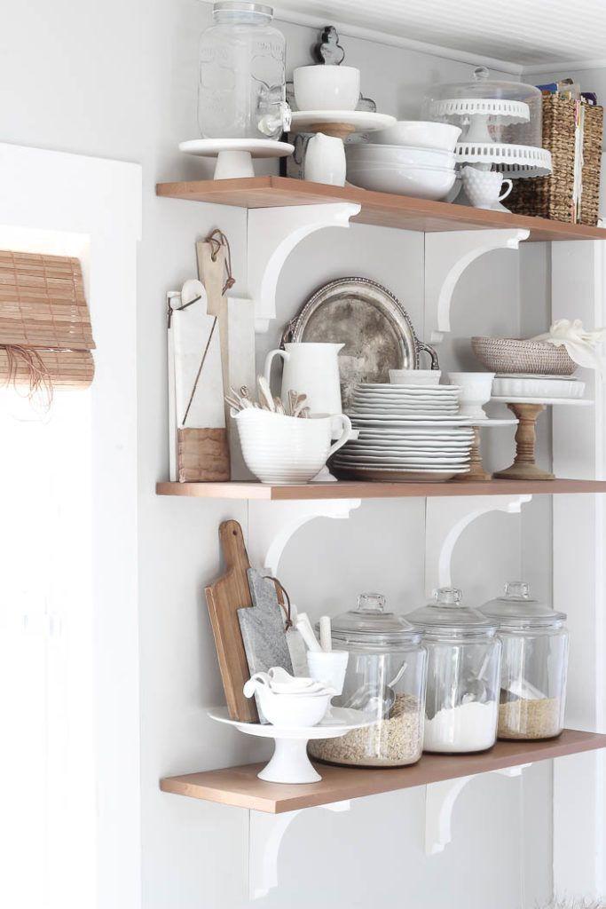 34 beautiful open kitchen shelves ideas cottage kitchen decor farmhouse kitchen inspiration on farmhouse kitchen shelf decor id=60899