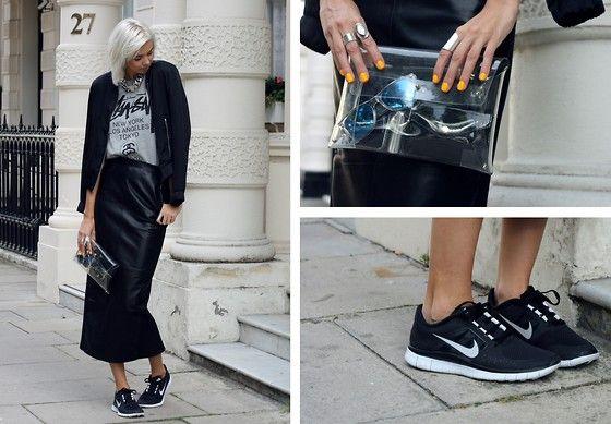 Zara Bomber Jacket, Stüssy Tee, Nelly Chain Necklace, Avelon Leather Skirt, Minusey Transparant Clutch, Nike Free Run