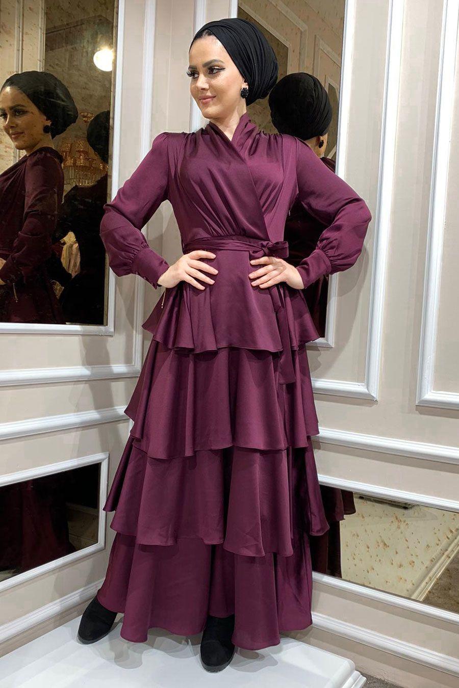 Tesetturlu Abiye Elbise Firfirli Krep Saten Murdum Tesettur Abiye Elbise 22701mu Tesetturisland Com 2020 Elbise Islami Giyim Elbise Modelleri