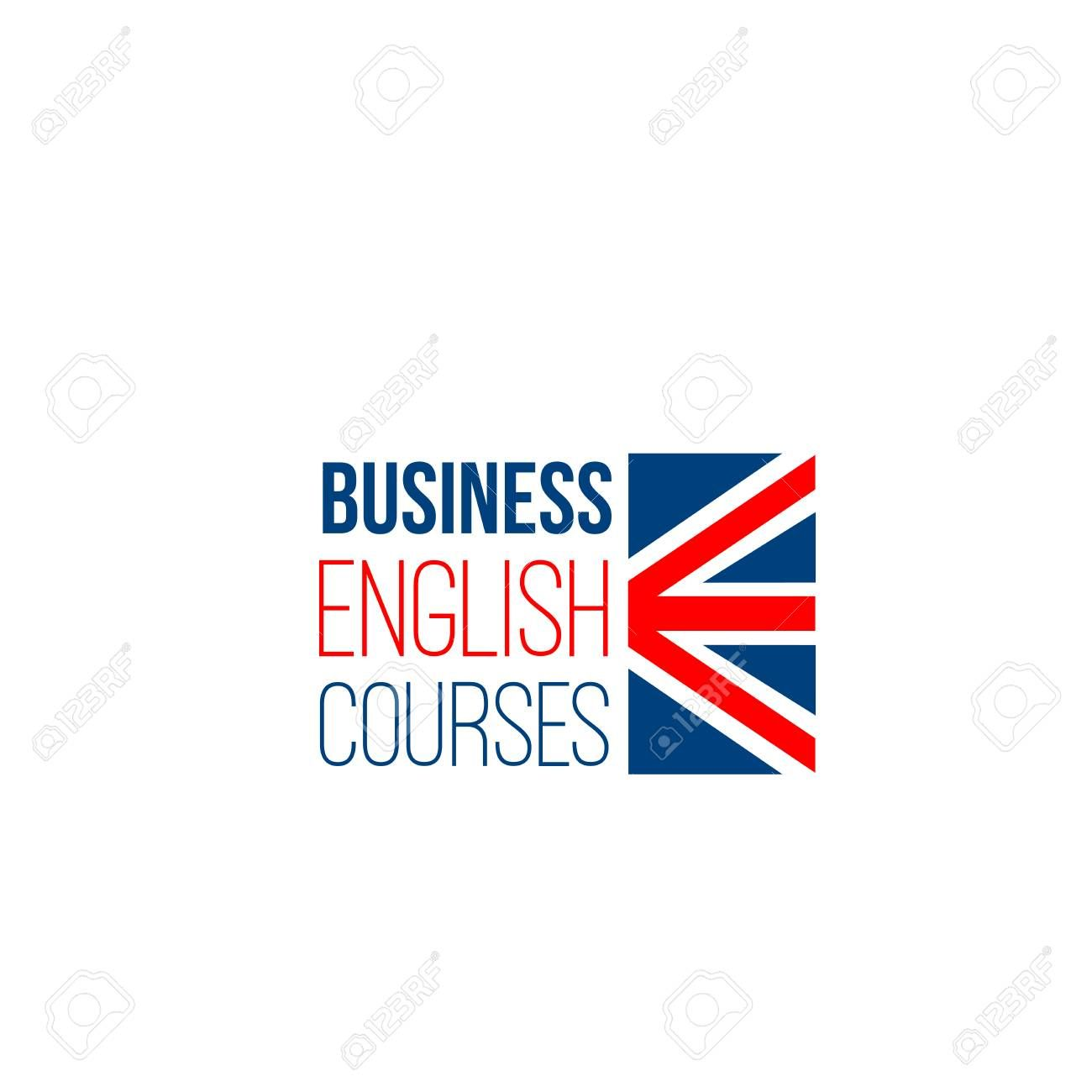 Business English Courses Vector Sign Isolated On A White Background Studying Foreign Languages Concept Creative Badge Fo English Logo Logo Design School Logo