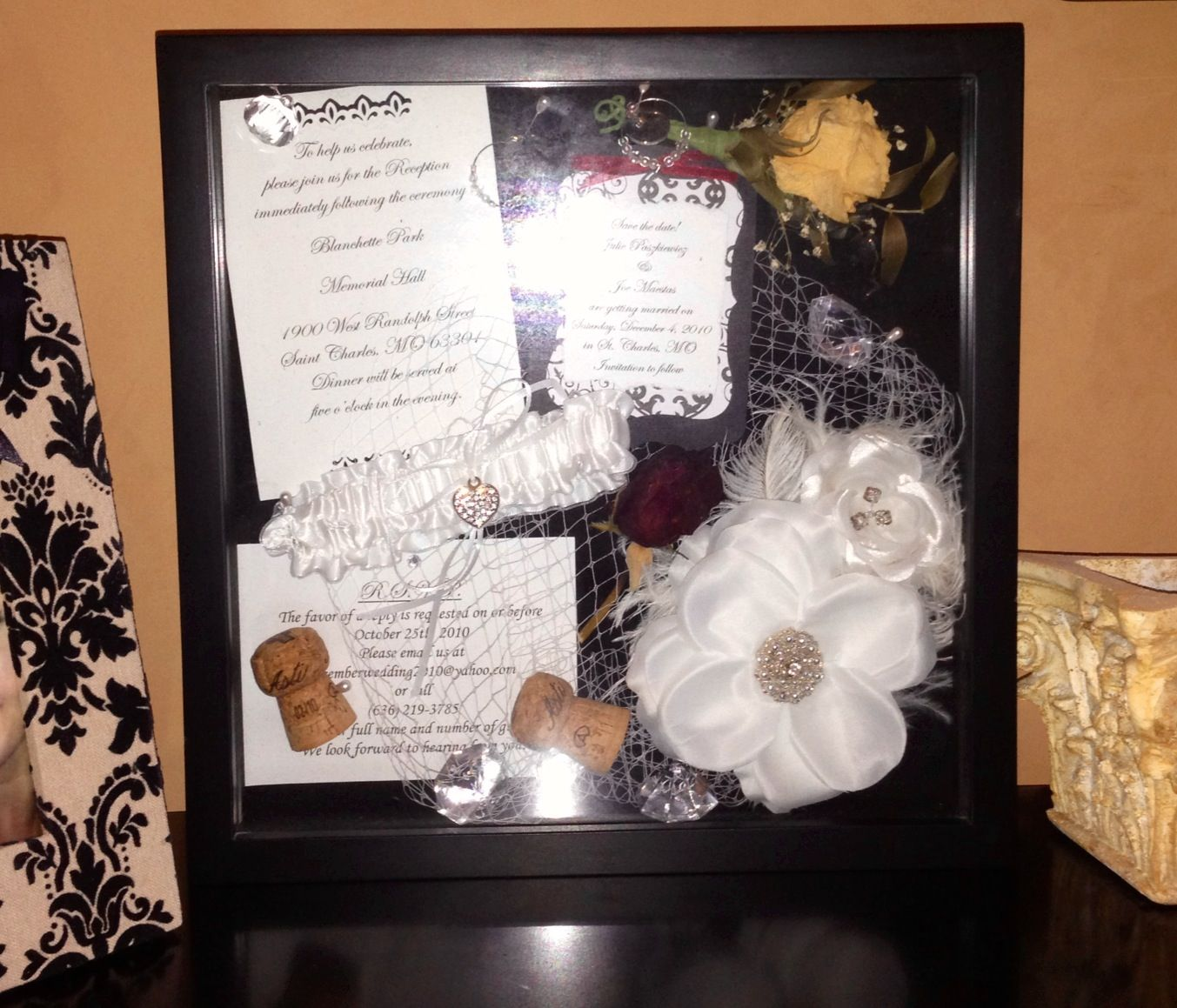 Wedding Cork Boutonniere: Wedding Shadow Box. Include The Bride's Hair Accessories