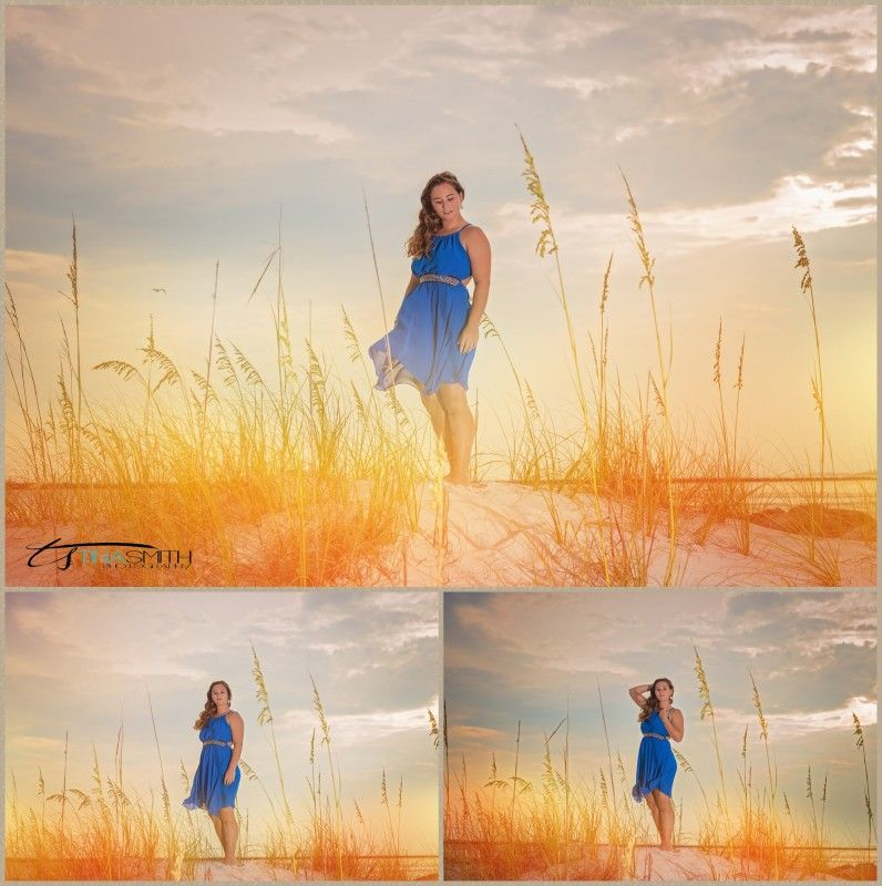 high school senior posing in sea oats on the beach in destin for senior  portraits