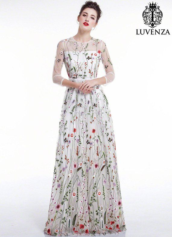 397476331101 White Tulle Colorful Floral Embroidery Maxi Evening Dress Floor Length  Floral Prom Dress  Sheer 3 4