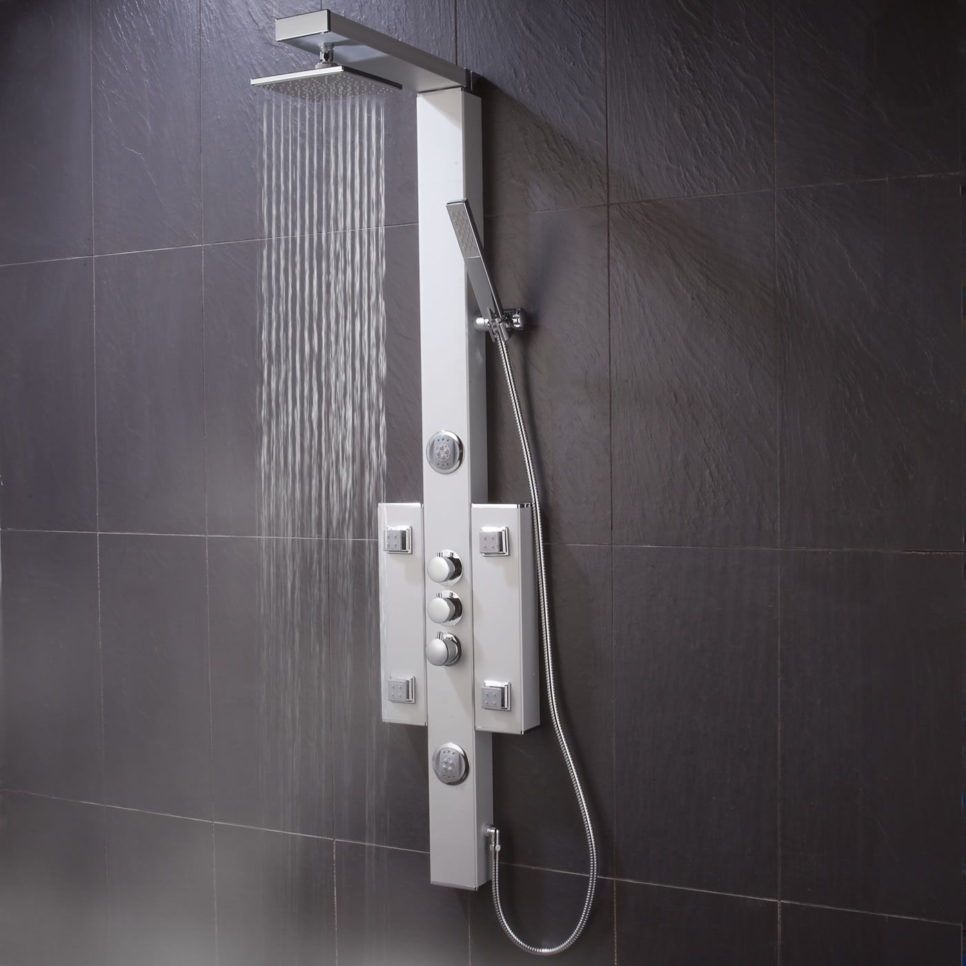 Thermostatic Square Shower Panel Tower System 3 Outlets Overhead Handset  And Body Sprays