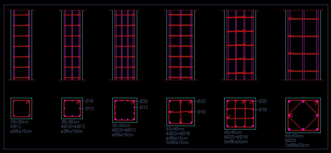 Secciones tipo de plantas y alzados de pilares cuadrados - Precio vigas hormigon ...