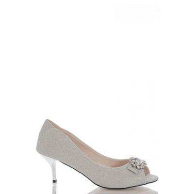 Quiz Silver Shimmer Brooch Low Heel Peep Toes- | Debenhams