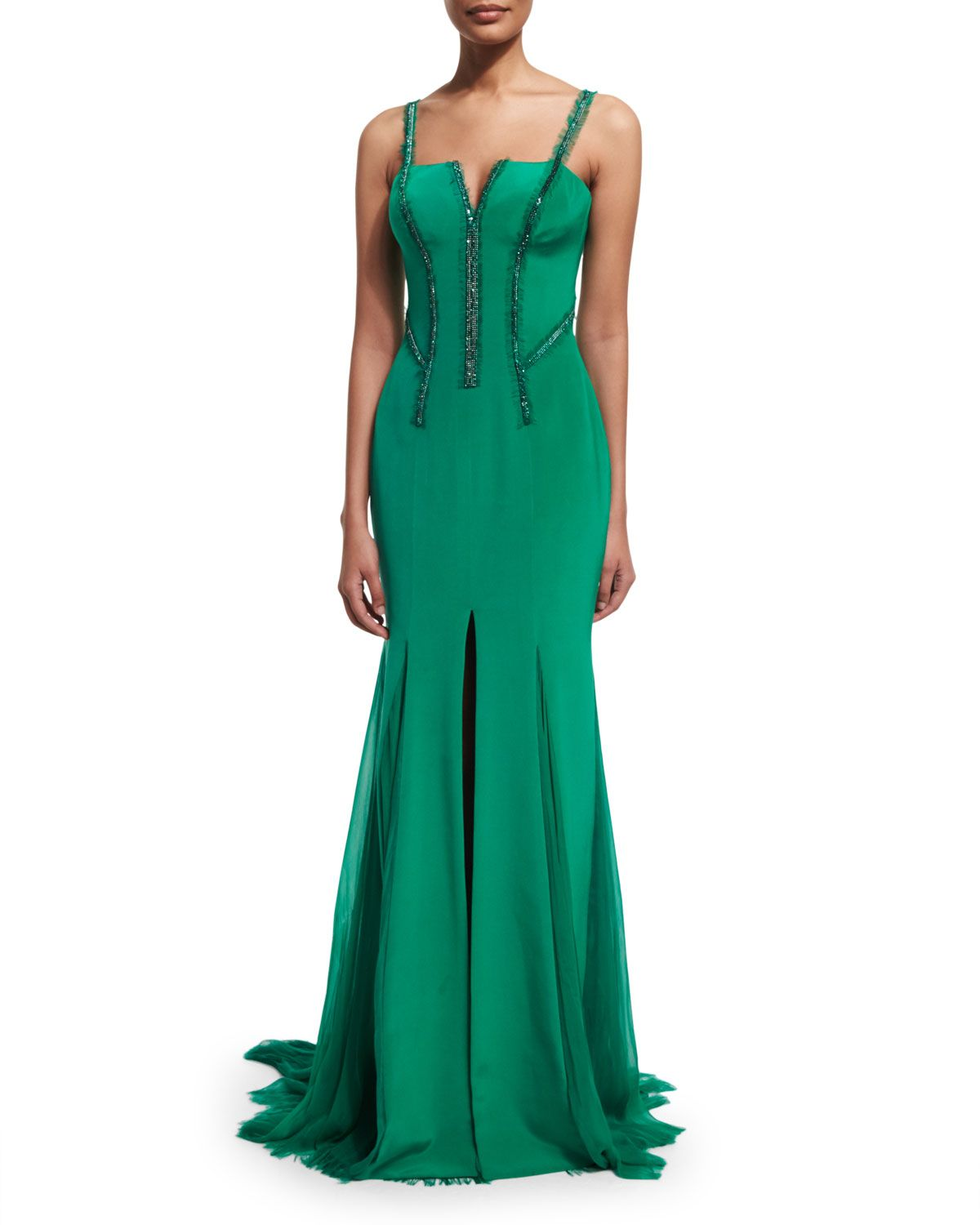 Sleeveless Silk Cady Gown w/Georgette Train, Emerald | Versace ...