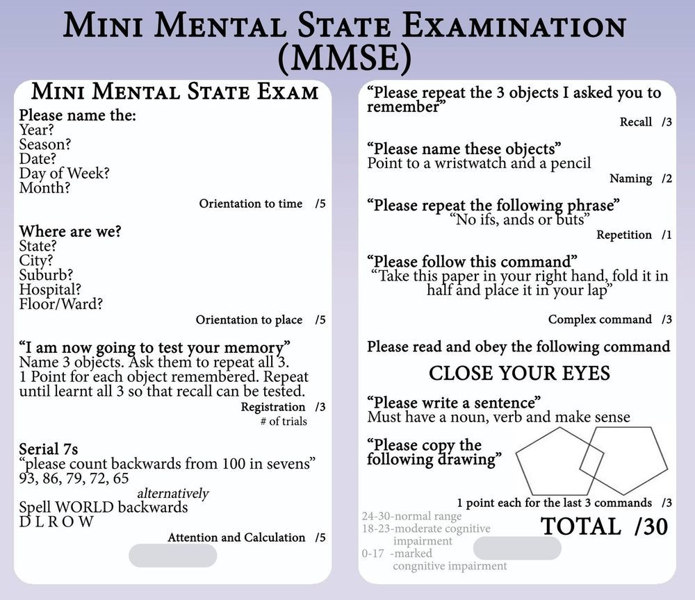 mini mental status exam - Google Search | Psych nursing ...
