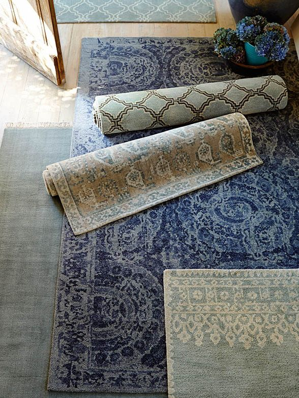 Pottery Barn Rugs 9x12.Bosworth Printed Wool Rug 9x12 Blue At Pottery Barn Rug