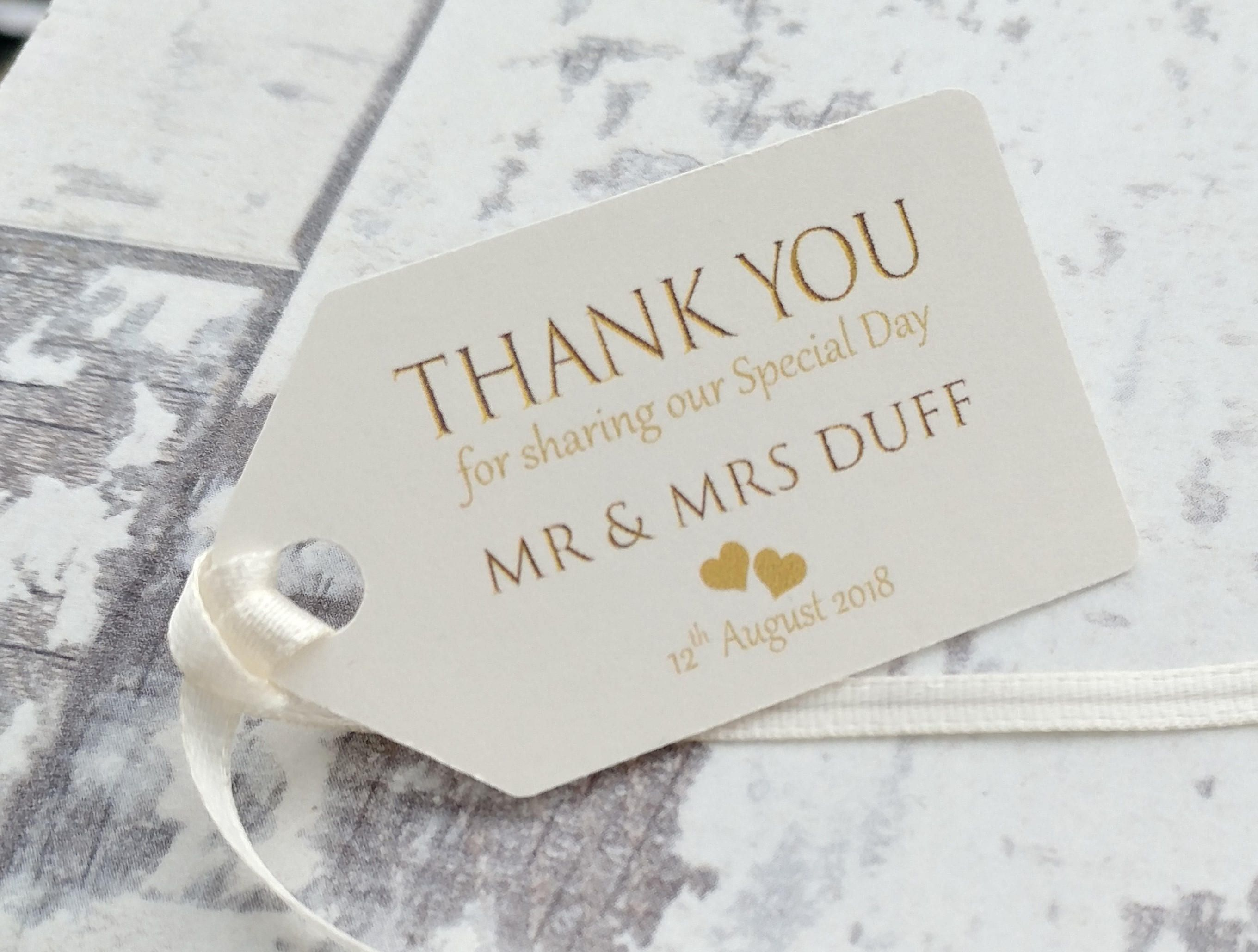 10 X Personalised Wedding Favour Tags Thank You For Sharing Our Special Day Personalized Wedding Favor Tags Wedding Favor Tags Personalized Wedding