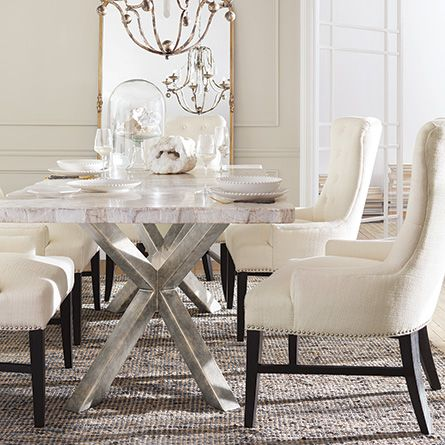 """petra 86"""" rectangle century marble dining table in white   marble"""