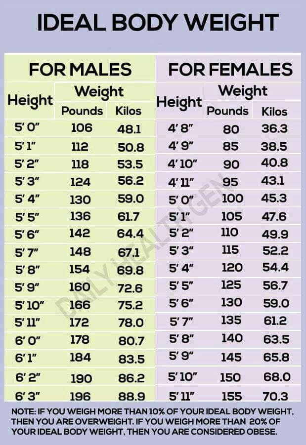 Ideal Body Weight Chart Ideal Body Weight Ideal Weight Chart Weight Charts For Women