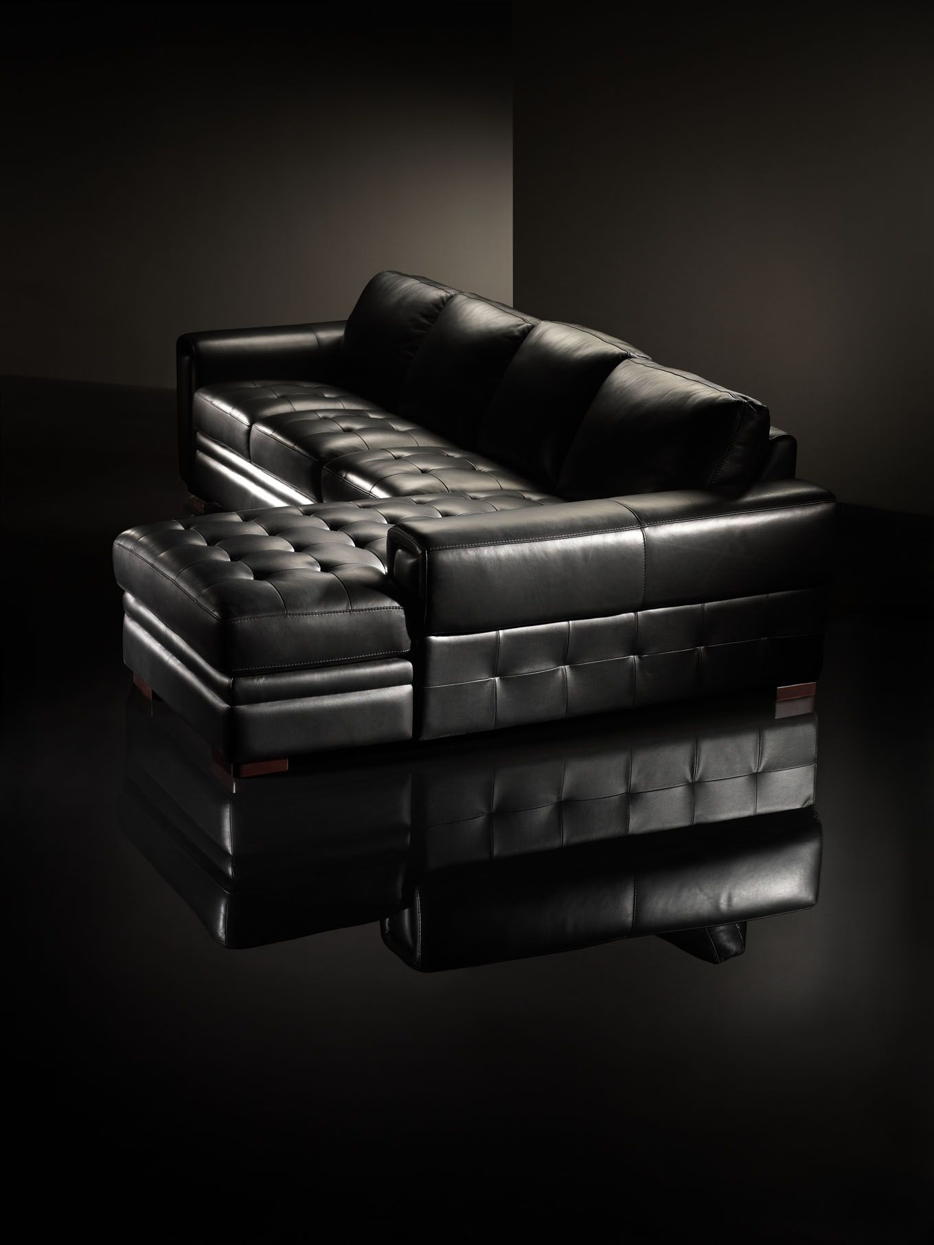 La Z Boy Zane Black Leather Sectional Research For