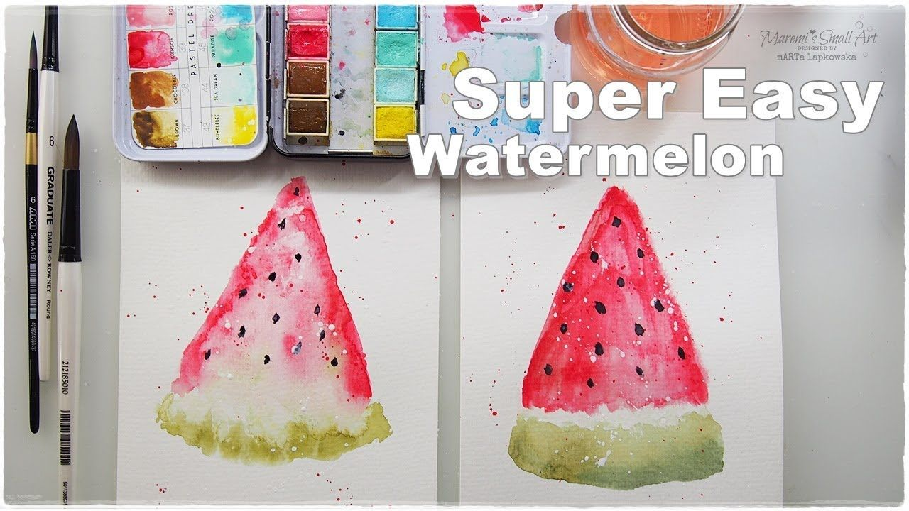 Super Easy Beginners Watercolor Watermelon For Kids Maremi S