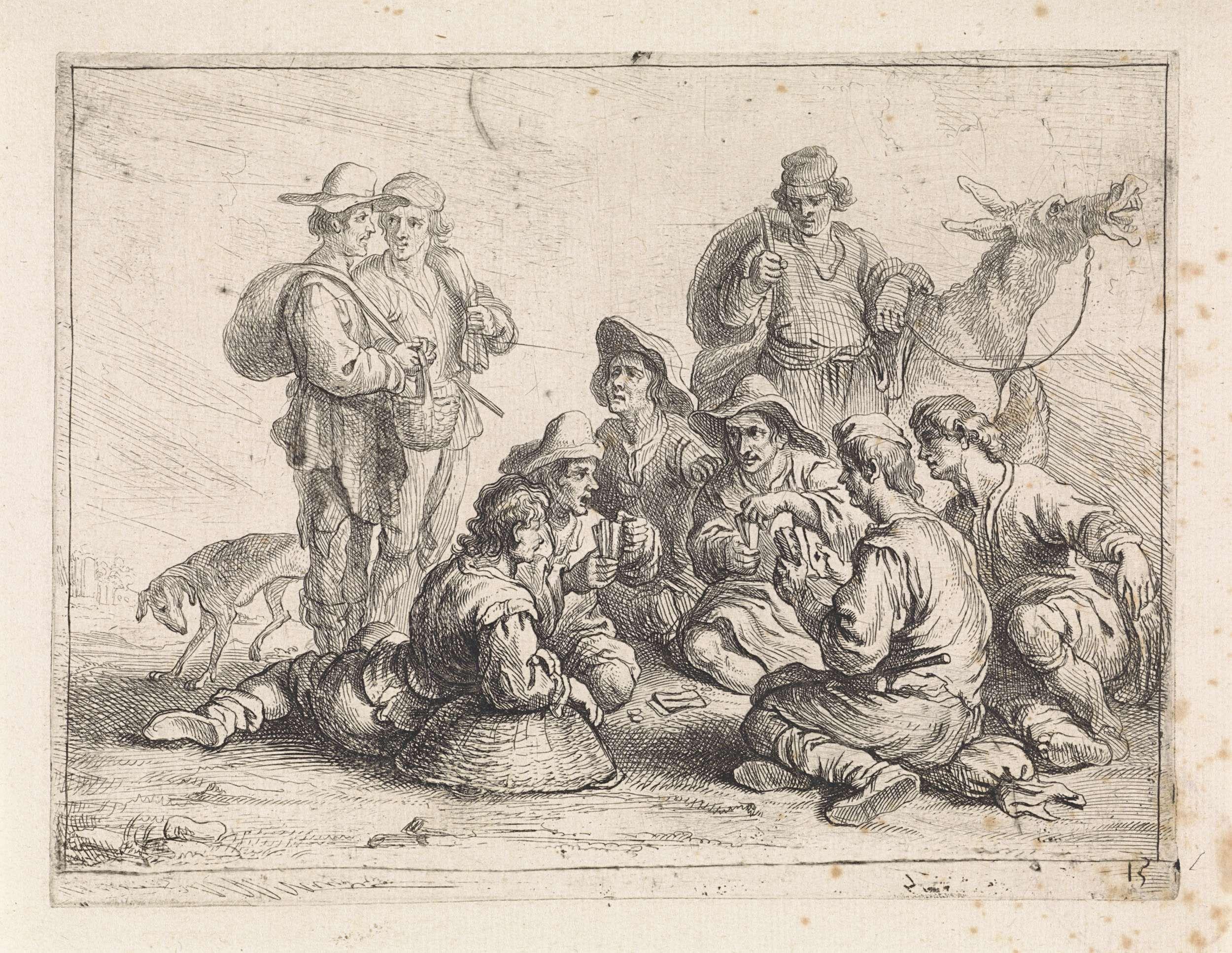 Cornelis de Wael | Kaartspelers, Cornelis de Wael, 1630 - 1648 | Een groep mannen speelt een kaartspel. Anderen kijken toe. Op de achtergrond een man met een ezel.
