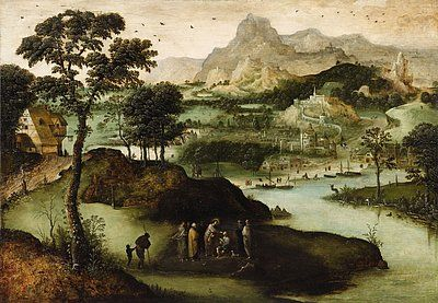 Lucas van Gassel, A Panoramic Landscape with Christ Healing the Blind Man  #vangassel #lempertz