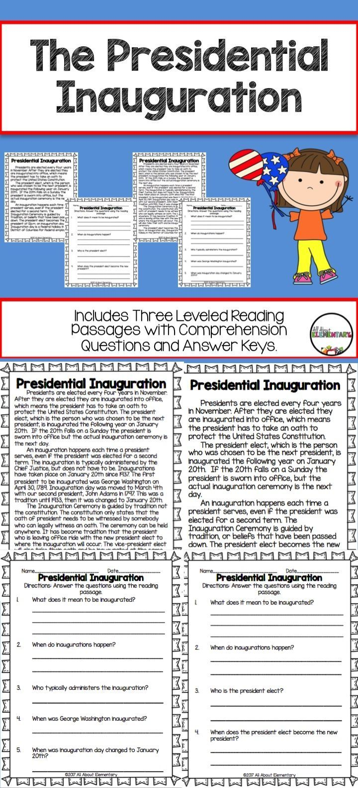 Presidential Inauguration Reading Passages And Comprehension Questions Reading Passages Comprehension Questions This Or That Questions [ 1582 x 720 Pixel ]