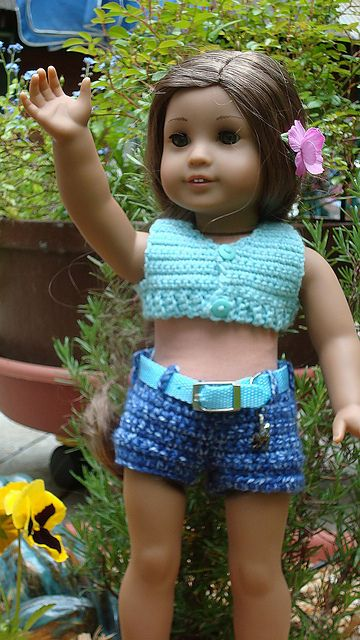 18 inch American Girl Doll Cropped Top and Low Riders Crocheted ...