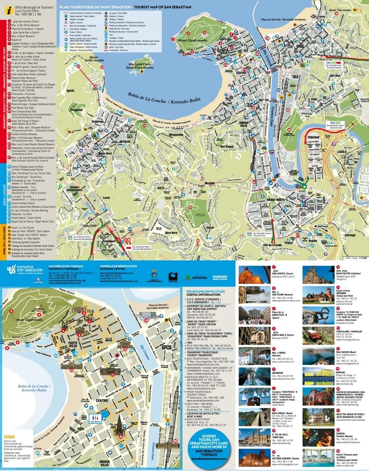 San Sebastin tourist attractions map Maps Pinterest Spain and