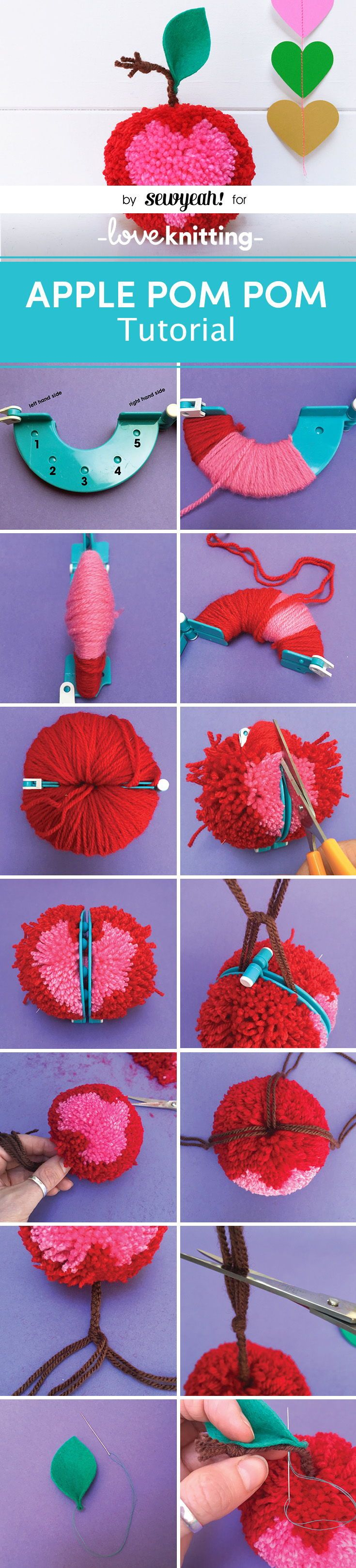 A FREE tutorial for how to make an apple pom pom by Christine Leech of Sew Yeah! Learn how to make a pom pom decoration with FREE instructions on the LoveKnitting Blog.
