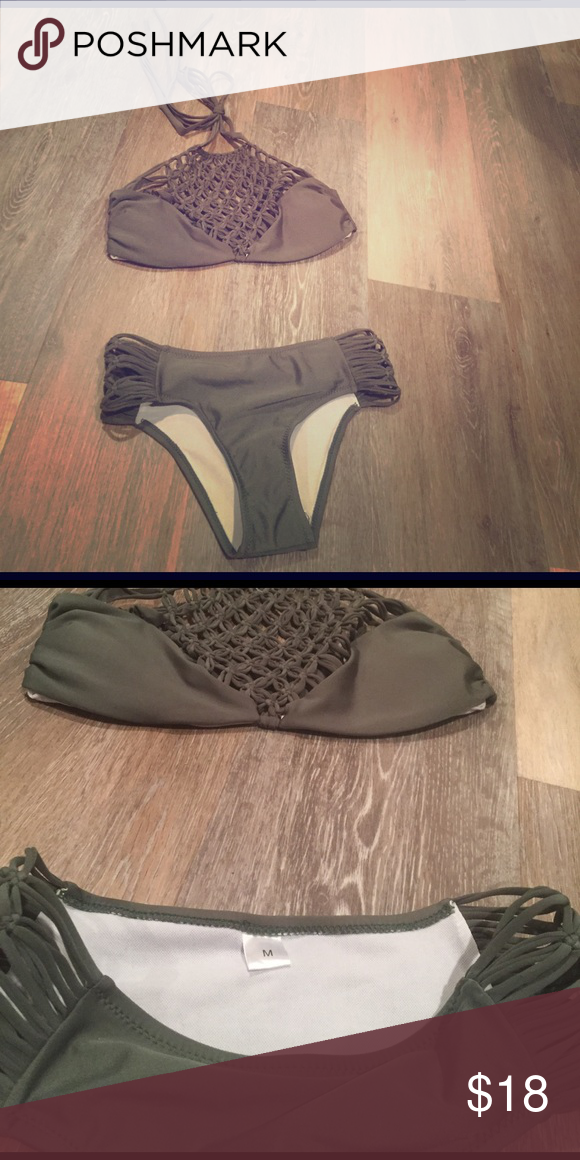 Zaful.com swimsuit Olive green, beautiful suit. Ordered online and the bottoms are too small for me. Brand new right out of packaging. Did not come w tags, but is brand new! Swim Bikinis