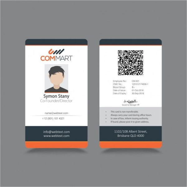 Psd Vector Eps Free Premium Templates Id Card Template Employee Id Card Professional Business Card Design