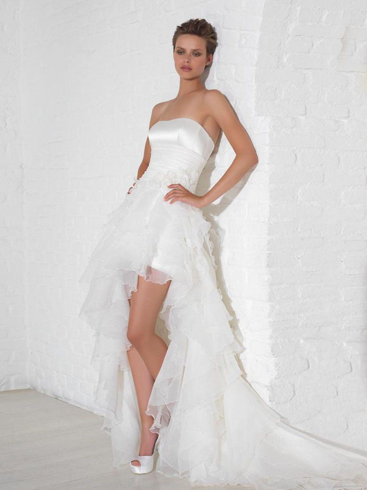 Asymmetrical strapless court train ivory wedding dress ld