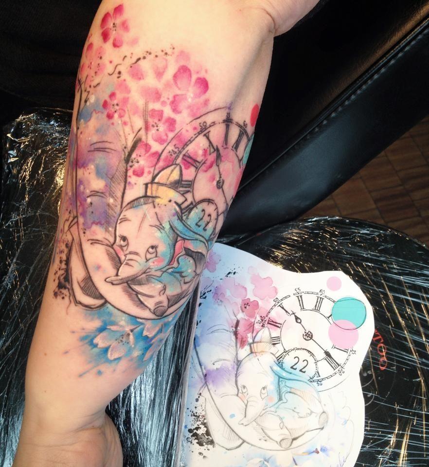 Dumbo Disney Watercolor Tattoo Carolina Avalle