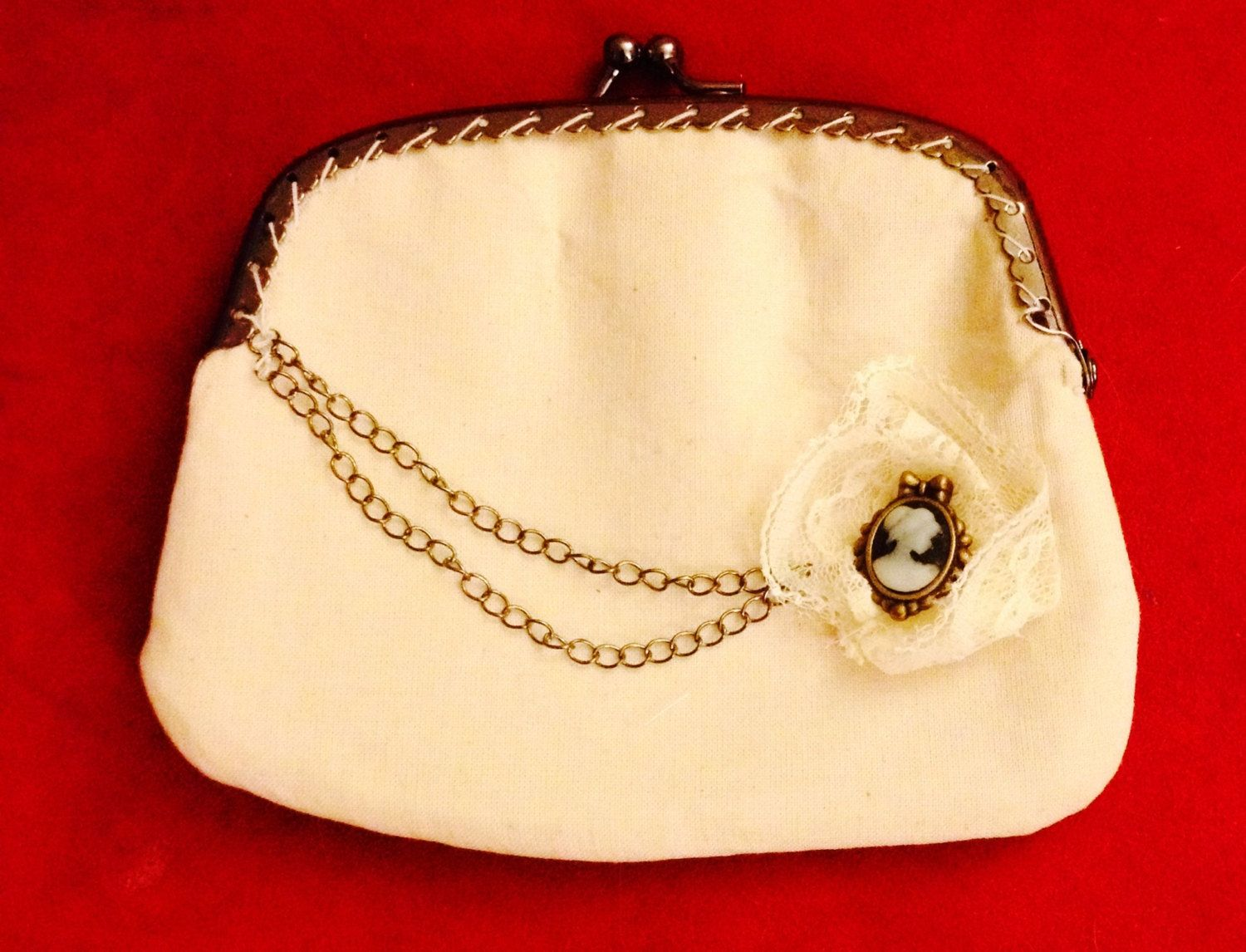 Small Canvas Clutch with Charm by cassandrasheryl on Etsy, $15.00