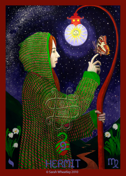 Hermit- Sarah Magdalene Tarot - If you love Tarot, visit me at www.WhiteRabbitTarot.com|