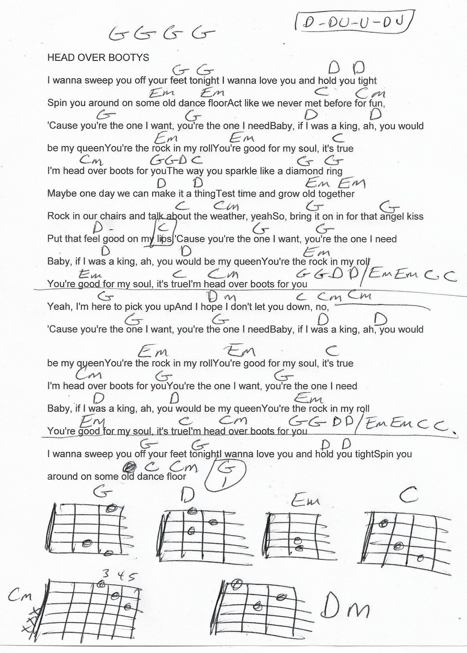 Head Over Boots (Jon Pardi) Guitar Chord Chart | Guitar chords. Guitar lessons for beginners. Ukulele chords songs