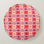 Abstract Flowers Pattern Pink Round Pillow