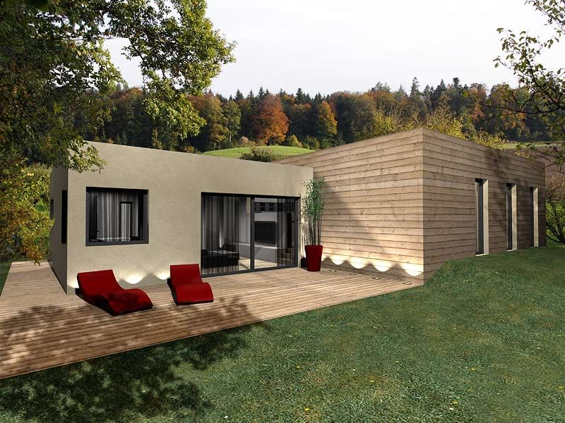 Maison en bois toit plat cubique sustainable houses for Maison en u moderne