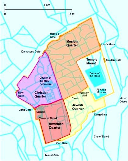Map of the Quarters in Jerusalem #Jerusalem #Israel Maps, Charts