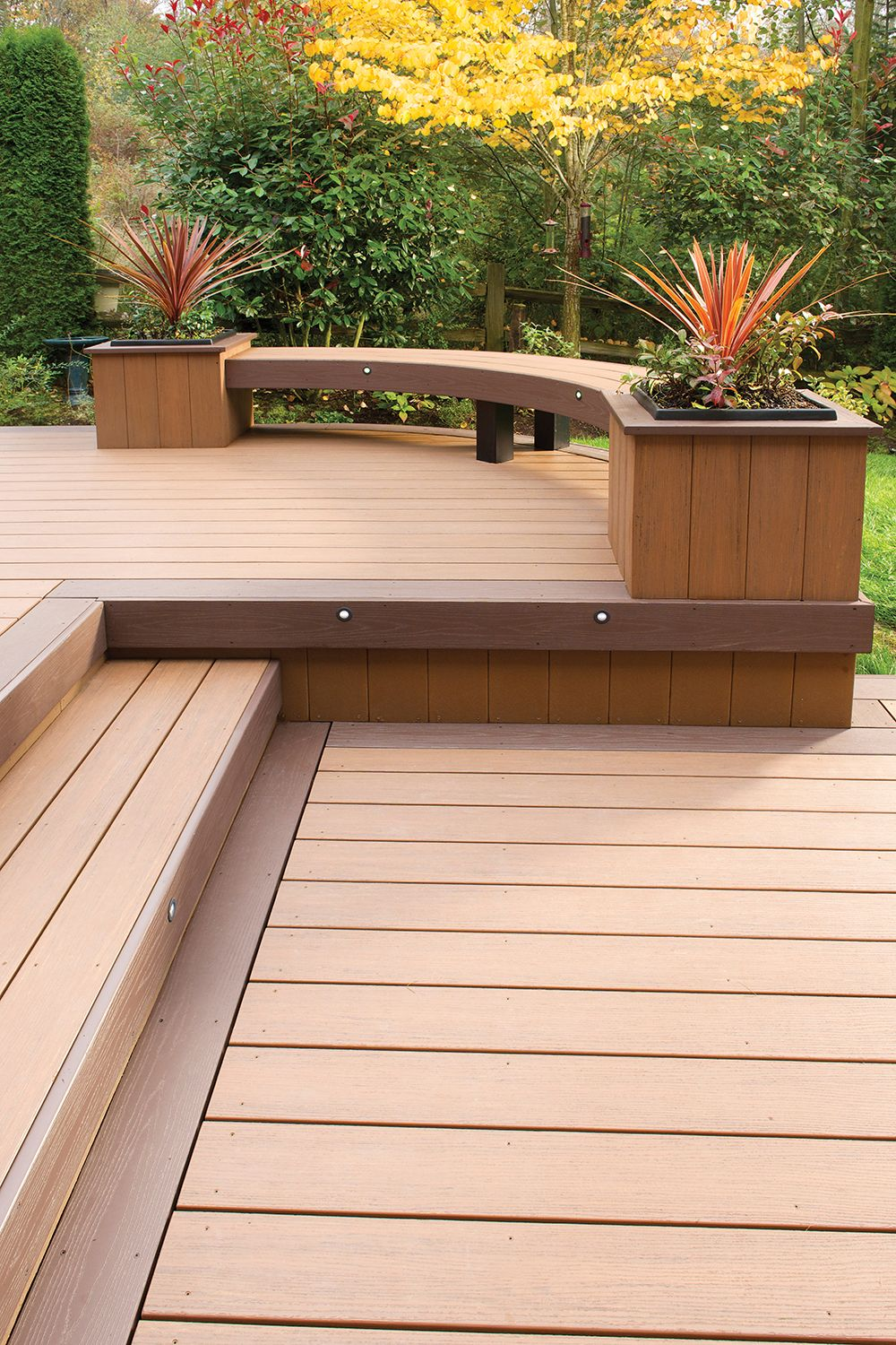 Azek Arbor Collection Decking In Acacia With Kona Accents