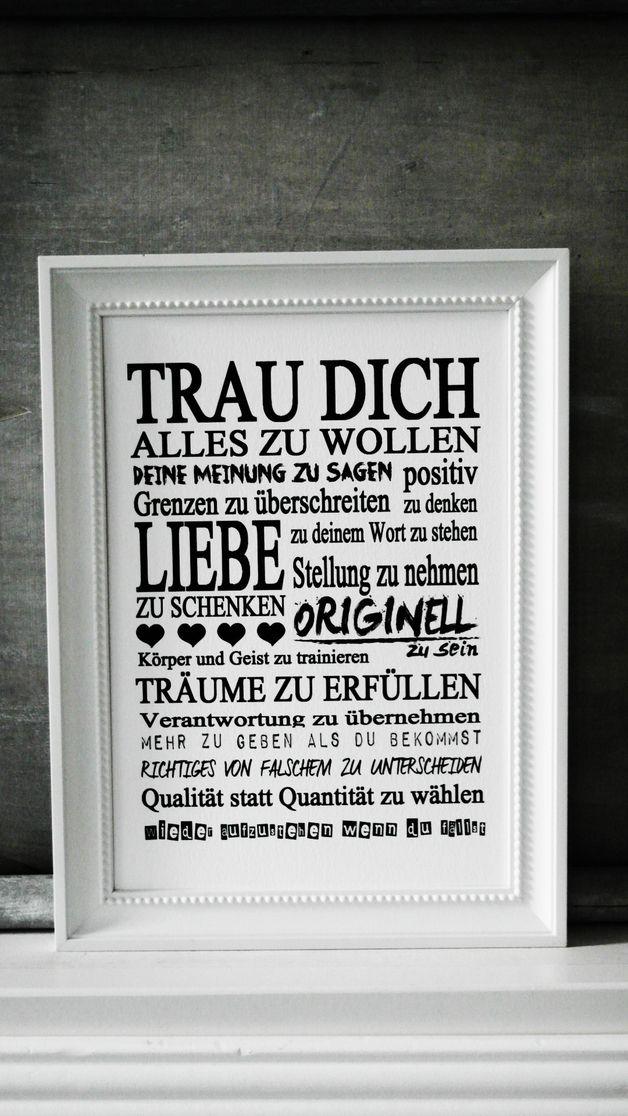 FINE ART DRUCK Bild TRAU DICH Kunstdruck Print | Strukturiert ...