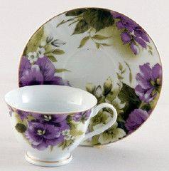 Pansy Joy Porcelain Teacups Case Includes 24 Tea Cups & 24 Saucers ...