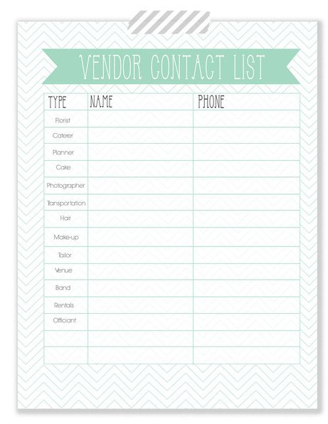 Vendor Contact List - Free Printable | I Thee Wed | Pinterest