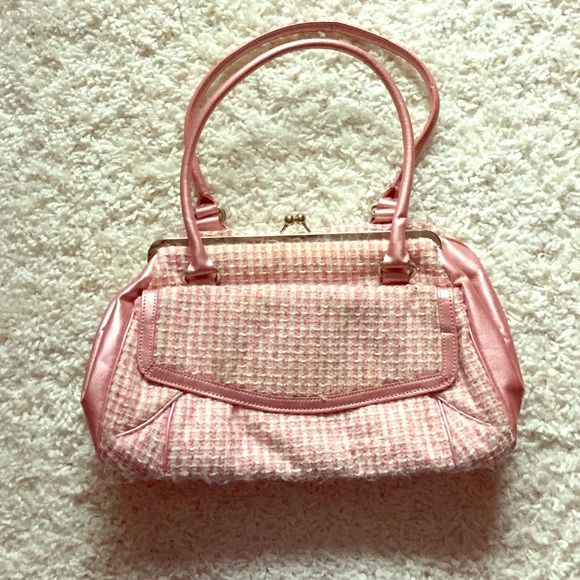 Cute knit handbag. Well loved but lots of life left! Pink knit with metallic pink straps and sides. Click closed. Great size Bags