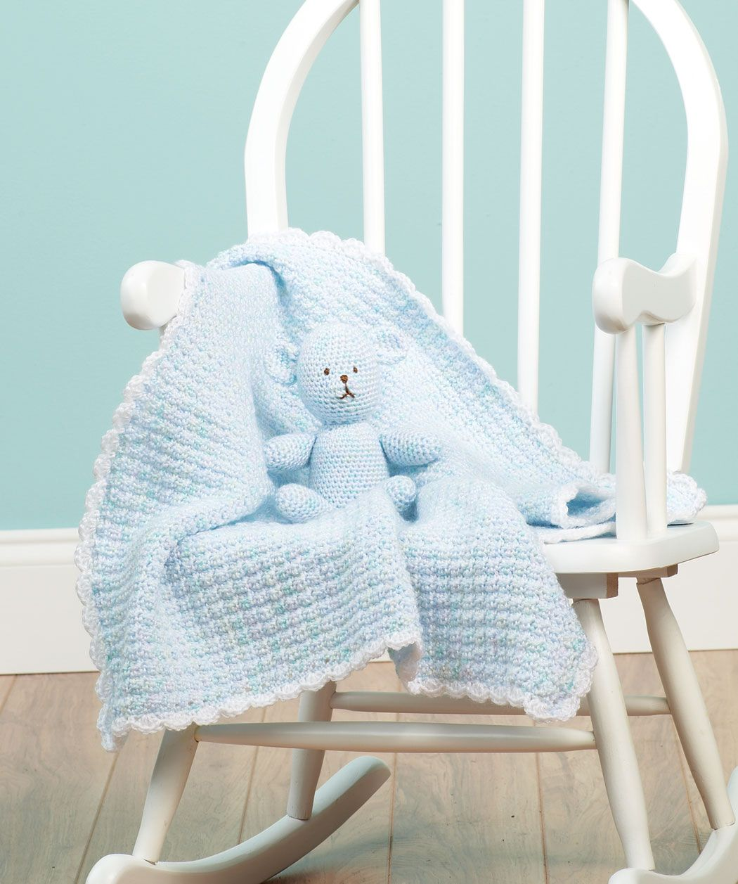 Crochet baby blanket and matching teddy bear. Adorable!