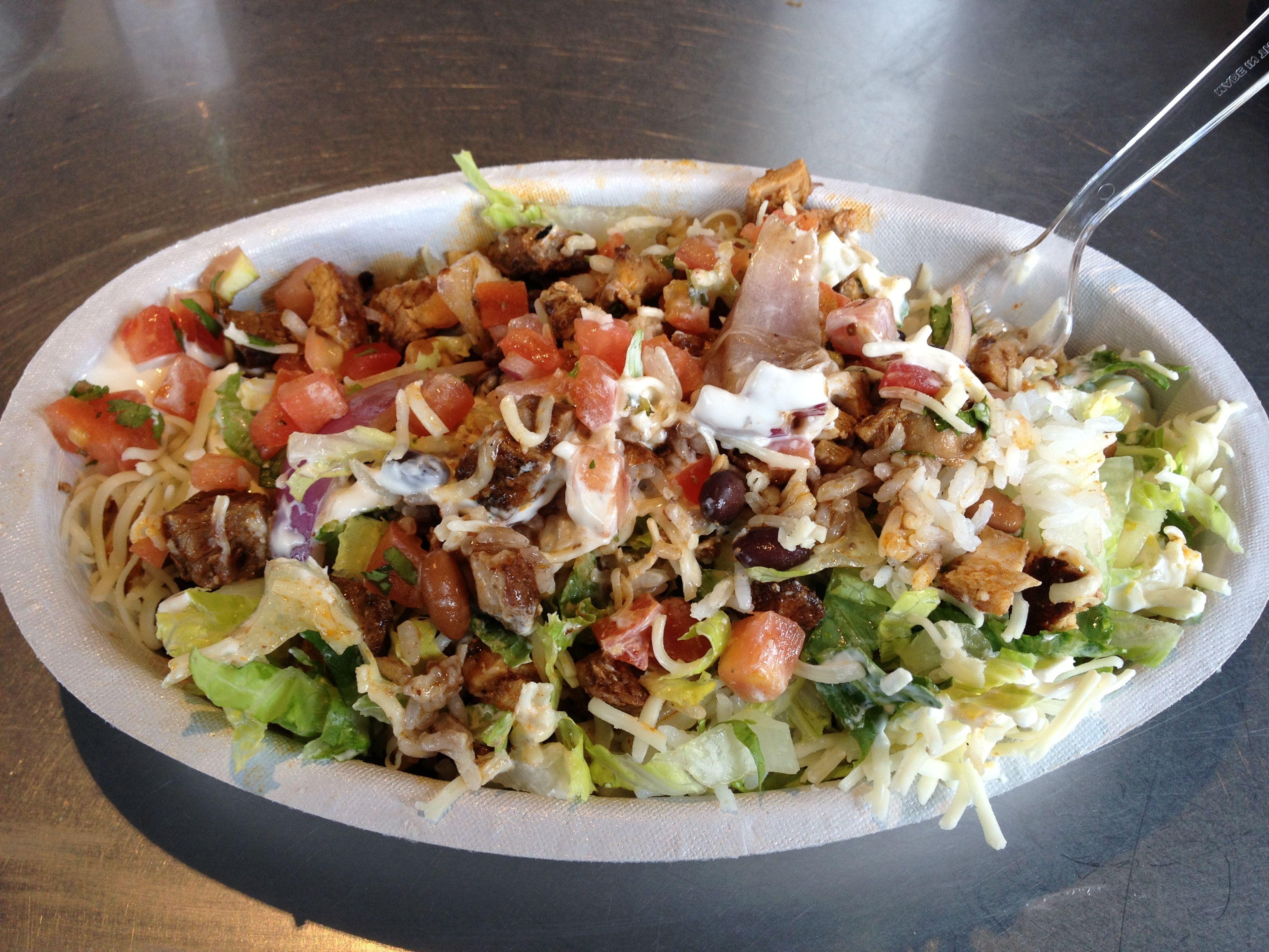 Chipotle Burrito Bowl. l always get half steak, half ...