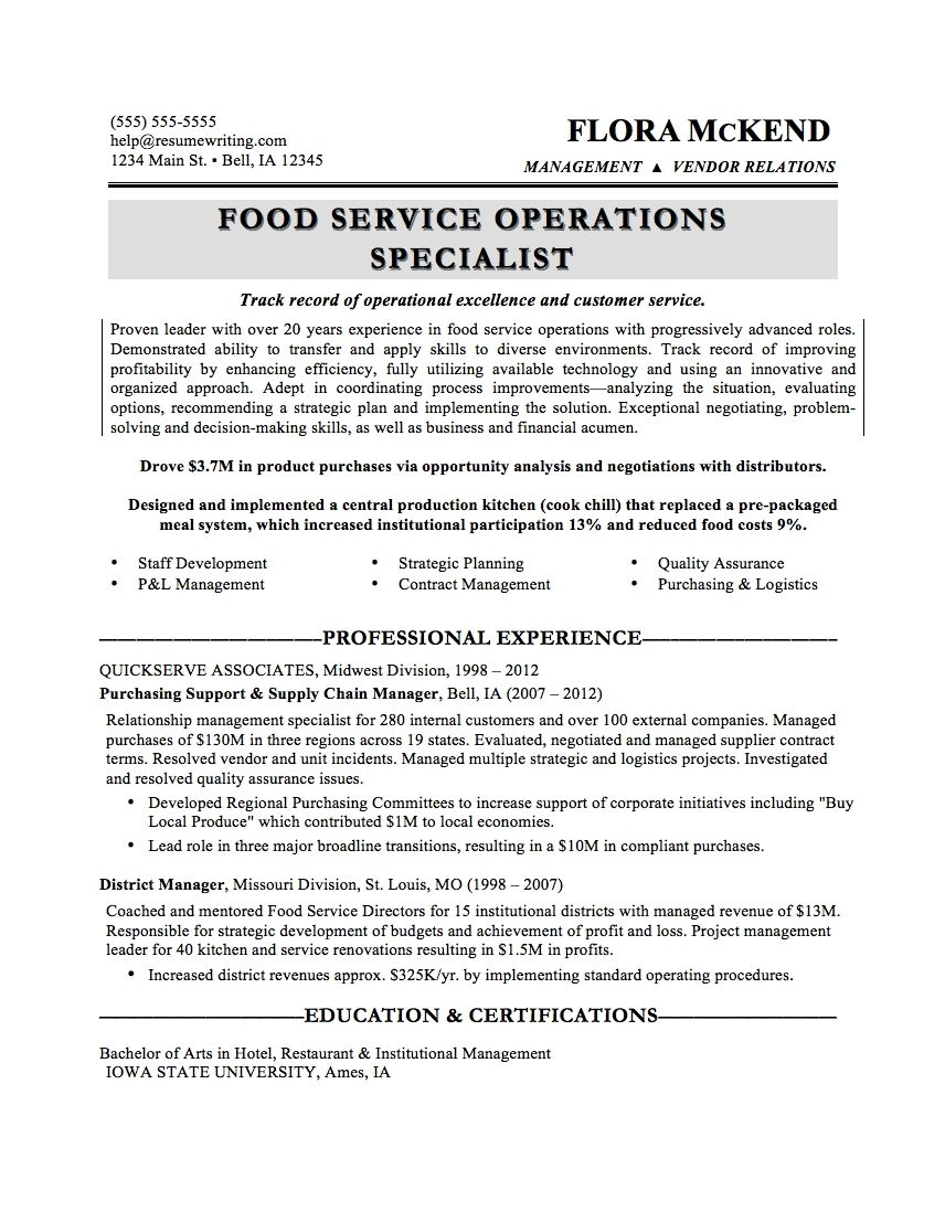 Cook Job Description For Resume Interesting Food Specialist Sample Resume Tool Design Engineer Cover Letter .