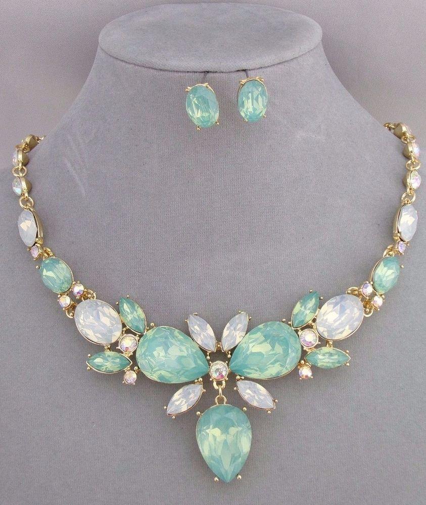 Green Opal Essence Rhinestone Necklace Earrings Set Gold Fashion Jewelry  New #sophiacollection