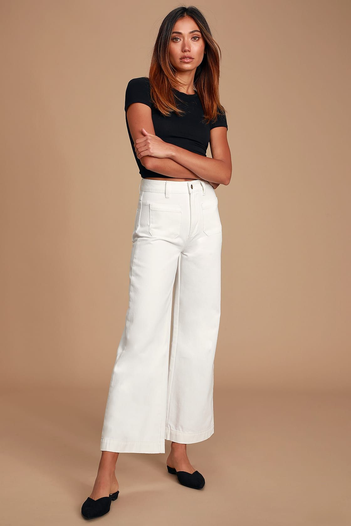 1980s high waist denim wide leg culottes trousers pants 28 waist Cropped Palazzo jeans
