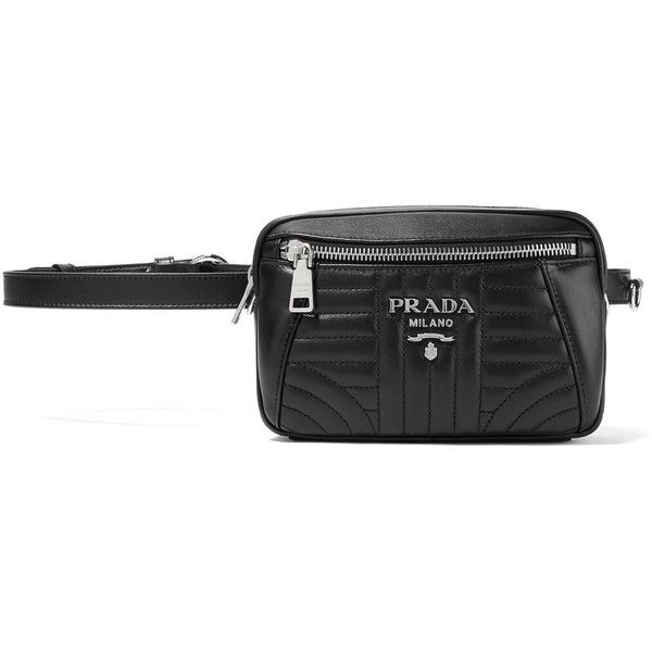 9969577b5e85 Prada Quilted leather belt bag ($1,100) ❤ liked on Polyvore featuring bags,  black, crossbody bag, waist fanny pack, quilted leather crossbody bag, ...